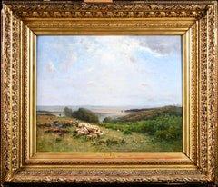 Les Bergers - Barbizon Oil, Shepherd & Sheep in Landscape by Louis Aime Japy