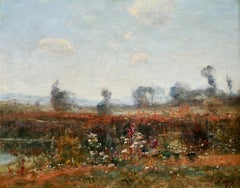 Wildflowers by the River-19th Century Oil Barbizon Landscape by Louis Aime Japy