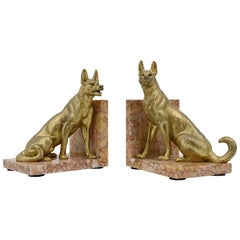 Louis-Albert Carvin French Art Deco German Shepherd Bookends, circa 1930