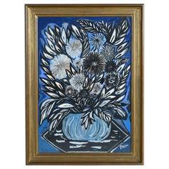 Louis Albert Gayrin Blue Flowers Still Life Water Color and Goauche