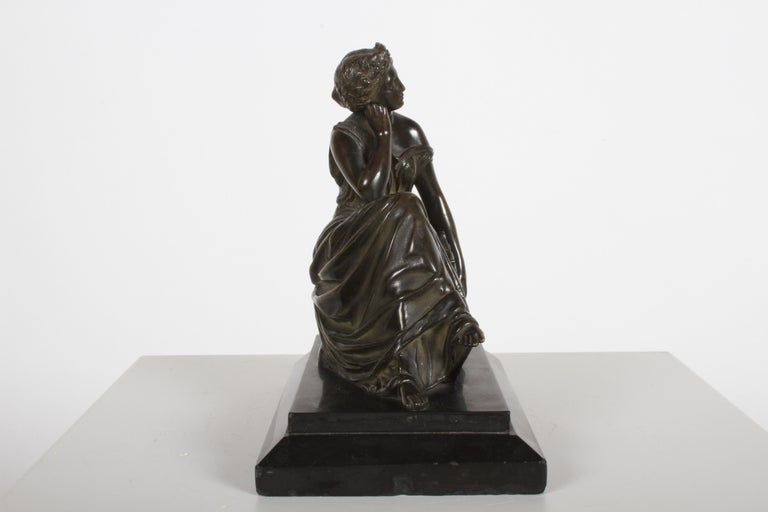 Neoclassical Louis Alfred Habert 19th Century French Bronze Figure of the Muse Terpsichore For Sale