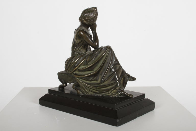 Patinated Louis Alfred Habert 19th Century French Bronze Figure of the Muse Terpsichore For Sale