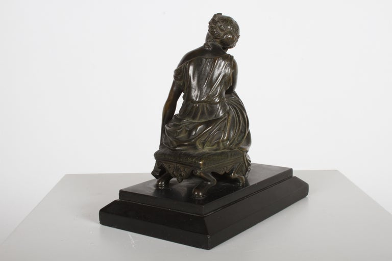 Late 19th Century Louis Alfred Habert 19th Century French Bronze Figure of the Muse Terpsichore For Sale