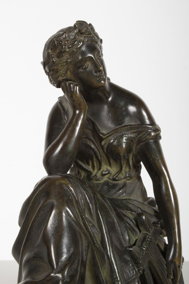 Louis Alfred Habert 19th Century French Bronze Figure of the Muse Terpsichore For Sale 3