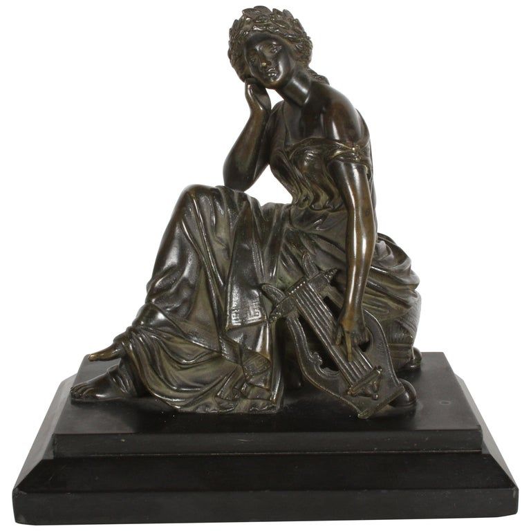Louis Alfred Habert 19th Century French Bronze Figure of the Muse Terpsichore For Sale