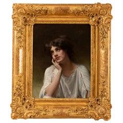 Louis Armand Huet, Portrait of a Woman, 20th Century Painting