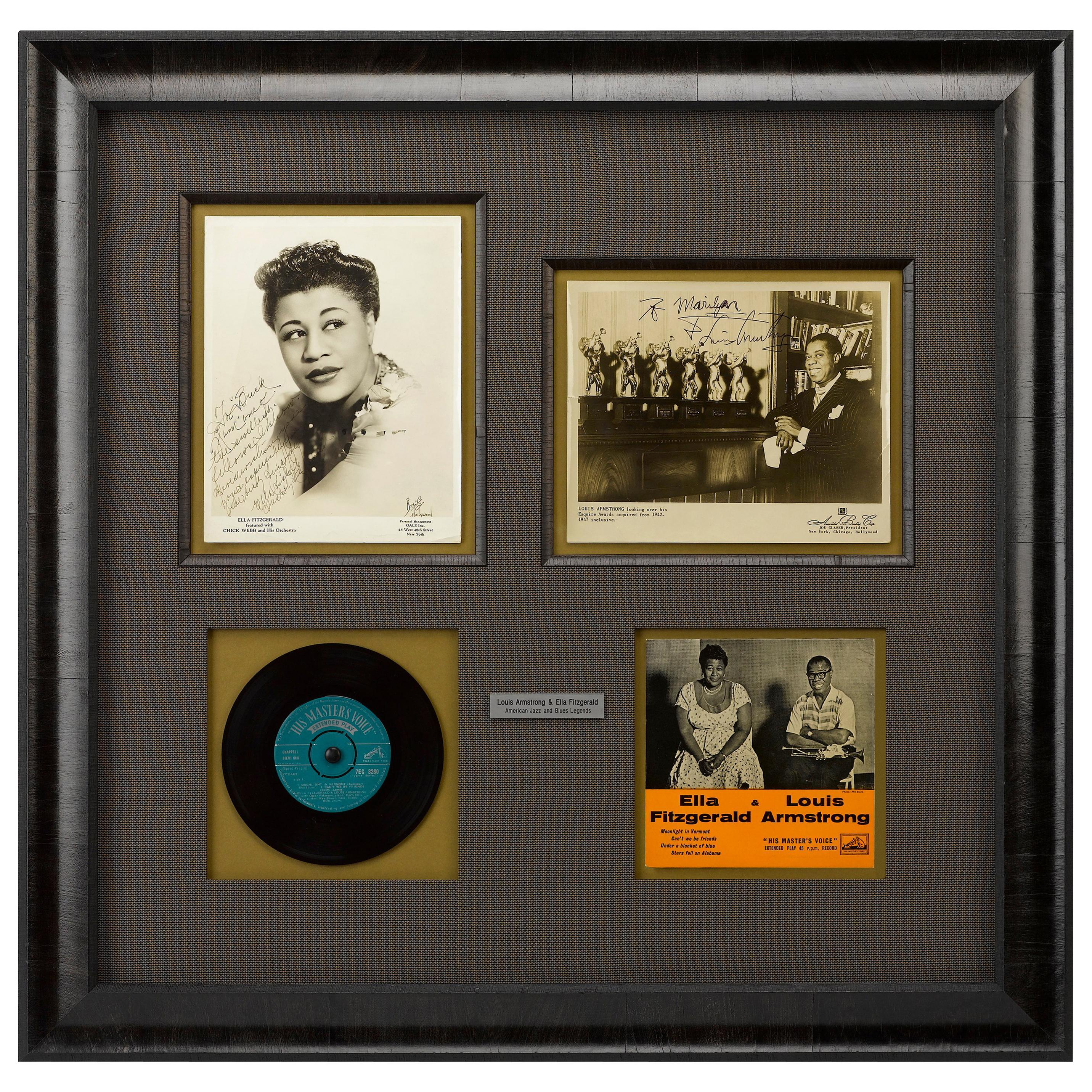 Louis Armstrong and Ella Fitzgerald Signed Photographs, American Jazz Legends