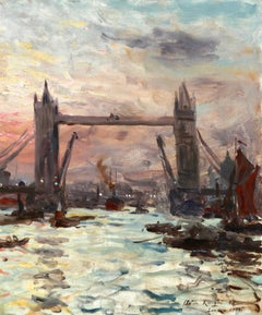 Tower Bridge, London-Sunset 1905 - 19th Century Oil, River by Louis Aston Knight