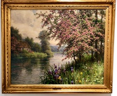 Landscape,Impressionist, Wisteria and Iris along a Stream, Original Oil Framed