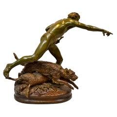 "Louis Auguste Hiolin Bronze Titled ""Au Loup"" Loup"