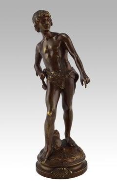 19th Century bronze sculpture of David