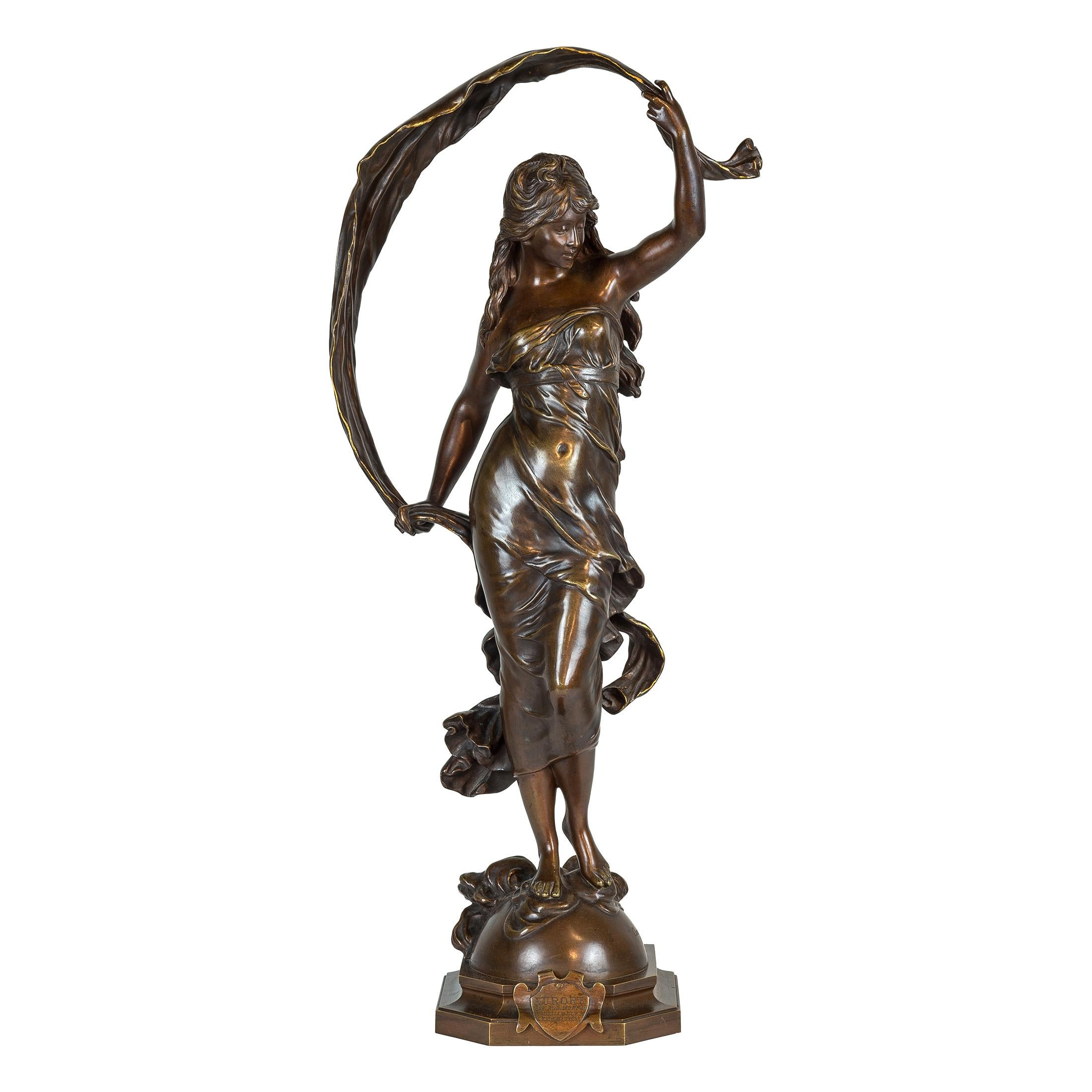 A Fine Patinated Bronze Statue Entitled 'AURORE' by Auguste Moreau