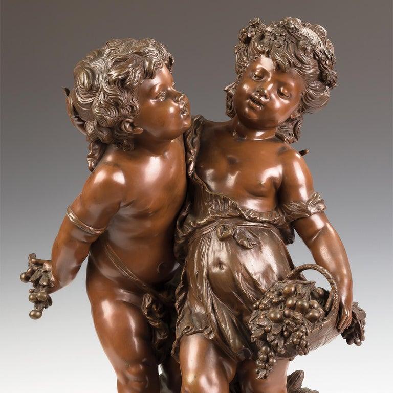 Children Picking Grapes - Gold Figurative Sculpture by Louis Auguste Moreau