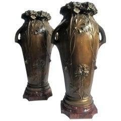 Louis Auguste Moreau, Set of Two Art Nouveau Bronze & Marble Vases, Ca. 1900