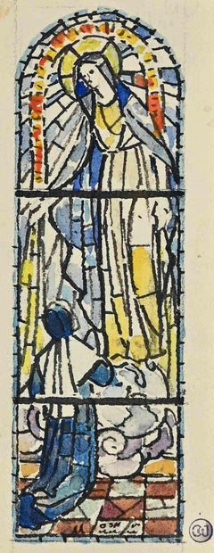 Sketch for a Glass-window - Original  Ink and Watercolor by Louis Balmet - 1950s