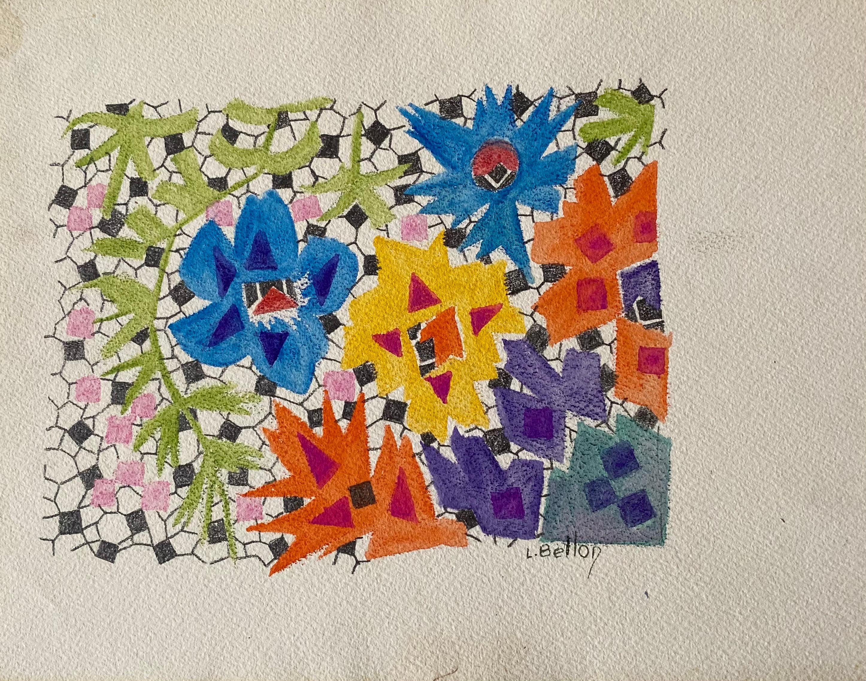 1940's French Post Impressionist artist Abstract Artwork Design original