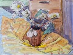 1940's Post Impressionist artist Still Life Flowers in Vase