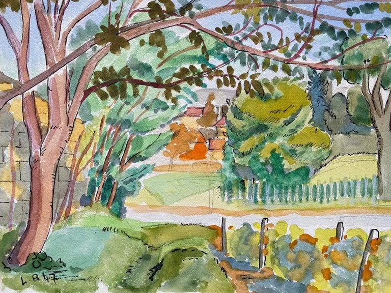 Louis Bellon Landscape Art - 1940's Provence France Painting Green Landscape - Post Impressionist artist