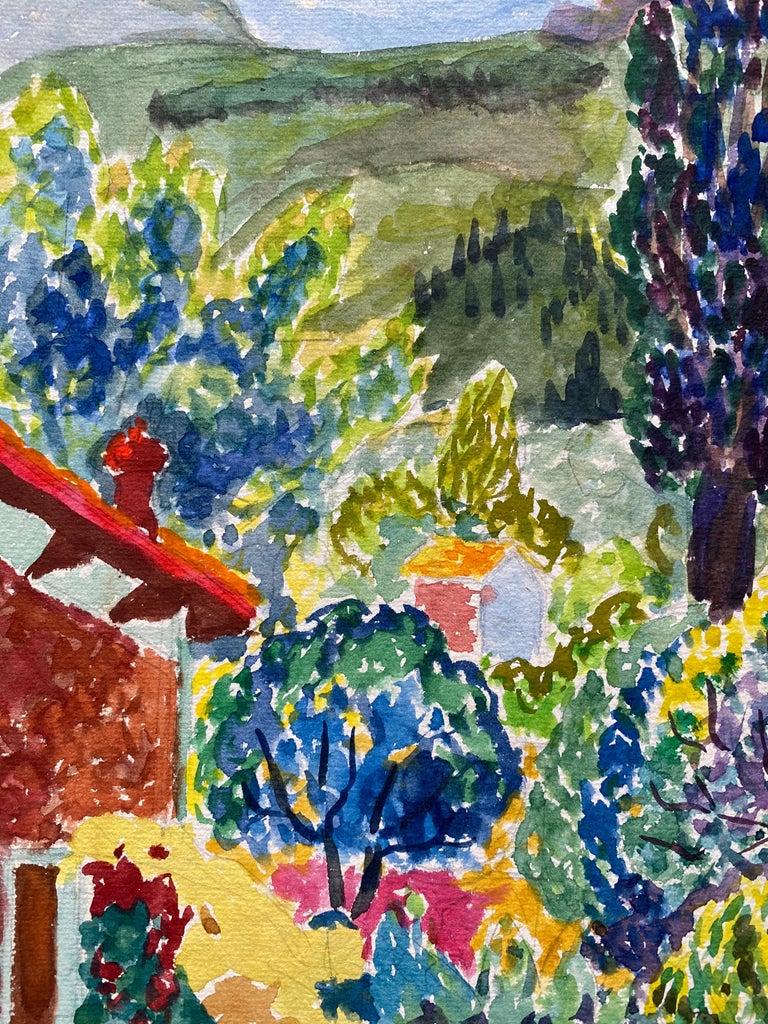 1940's Provence France Painting Landscape - Post Impressionist artist - Art by Louis Bellon