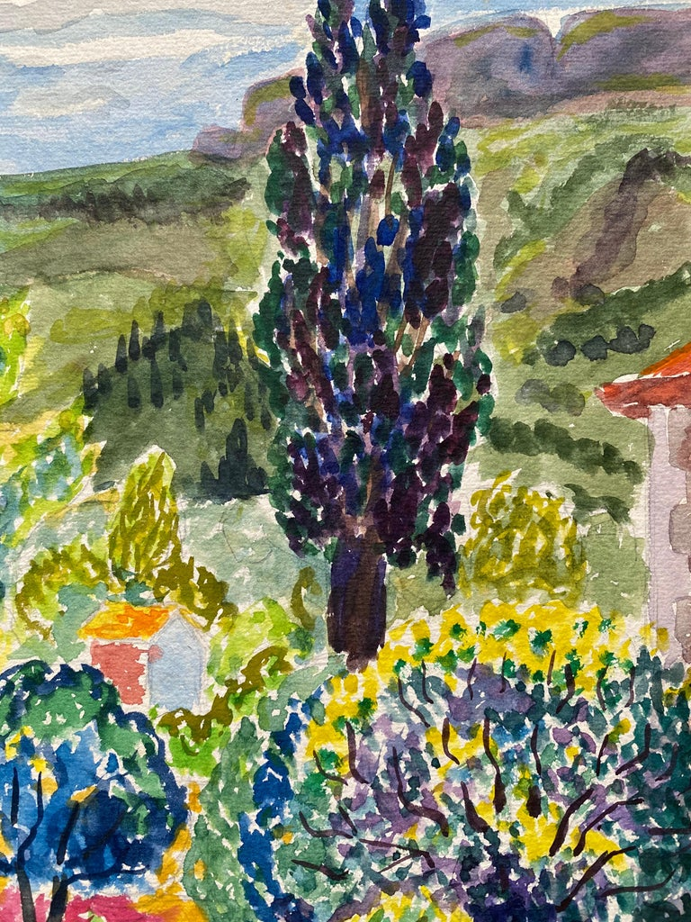 1940's Provence France Painting Landscape - Post Impressionist artist - Post-Impressionist Art by Louis Bellon