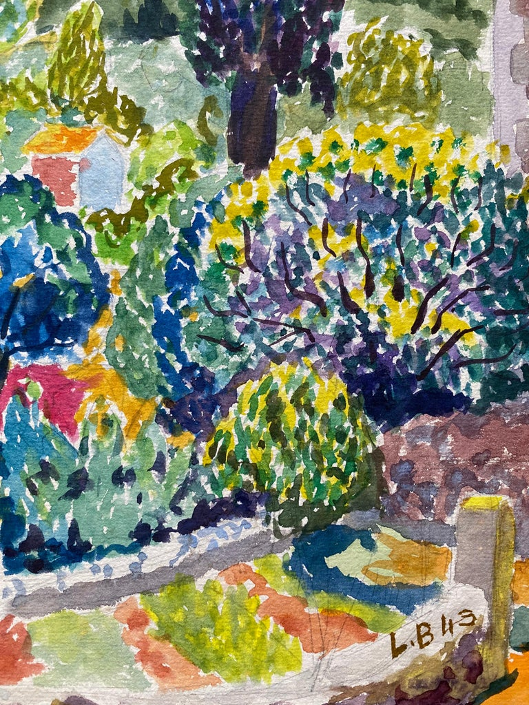 1940's Provence France Painting Landscape - Post Impressionist artist - Brown Landscape Art by Louis Bellon