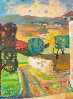 1940's Provence France Painting Landscape - Post Impressionist artist