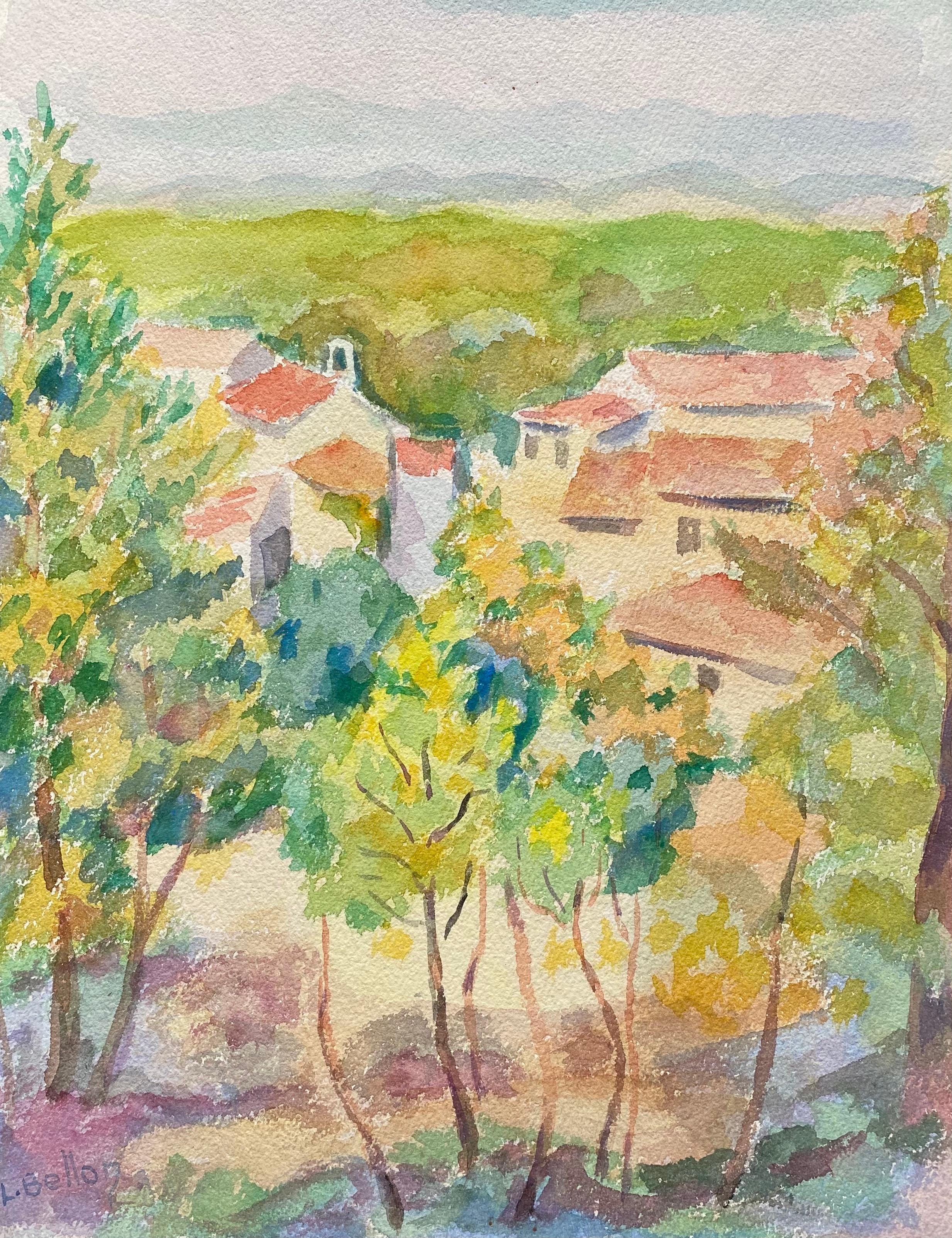 1940's Provence France Painting Old Town Landscape - Post Impressionist artist