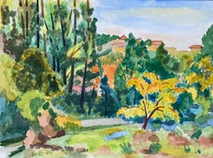 1940's Provence France Painting Sunny Warm Landscape - Post Impressionist artist
