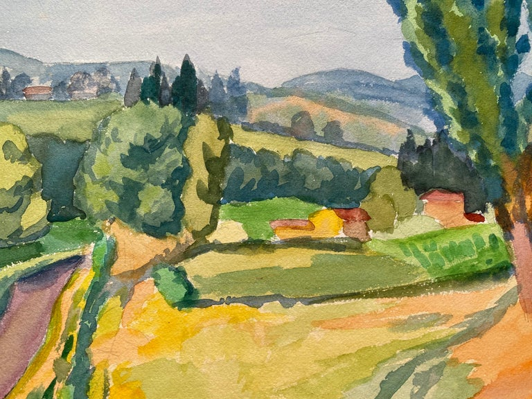 1940's Provence France Painting Tranquil Landscape - Post Impressionist artist - Art by Louis Bellon