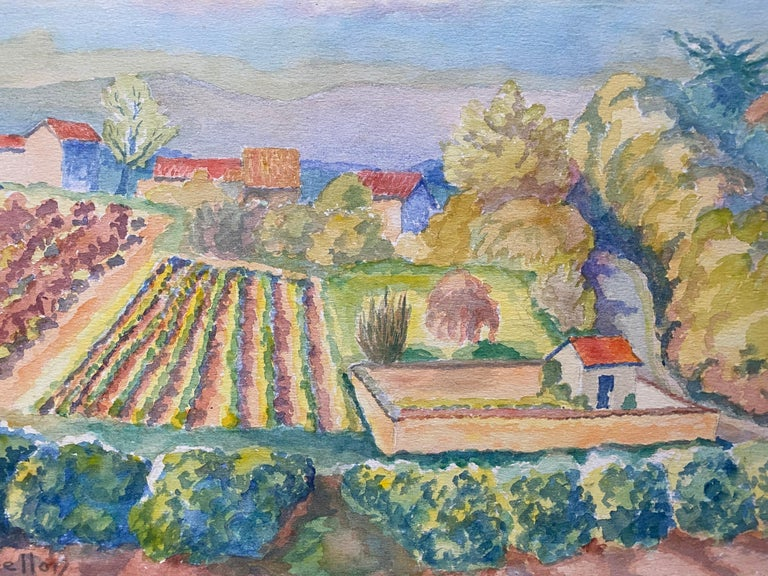1940's Provence France Painting Vineyard Landscape - Post Impressionist artist - Gray Landscape Painting by Louis Bellon