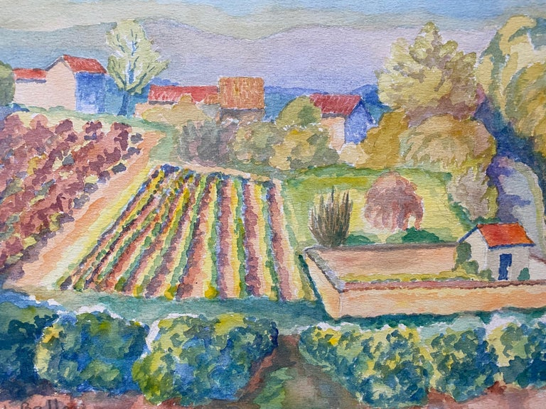 Provencal Landscape by Louis Bellon (French 1908-1998) signed inscribed verso From a batch of similar work where most were dated 1942-1947 watercolour painting on paper, unframed  measurements: 10 x 14 inches  provenance: private collection of the