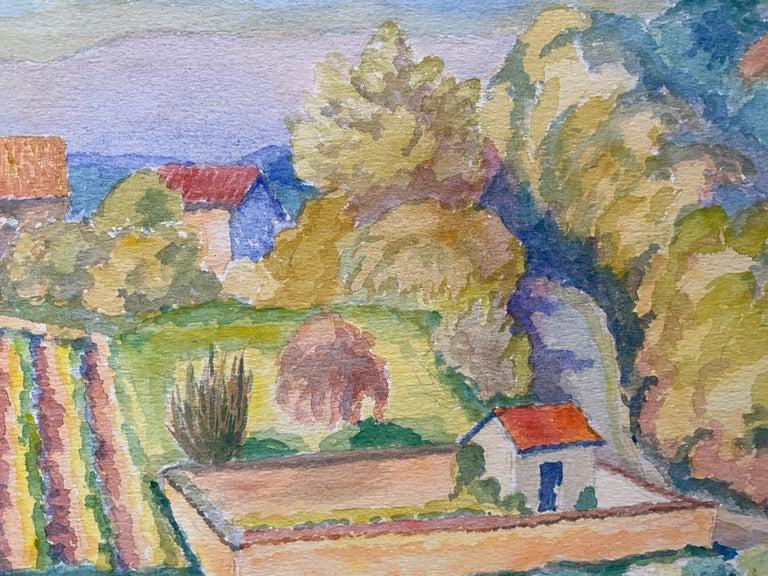 1940's Provence France Painting Vineyard Landscape - Post Impressionist artist For Sale 1