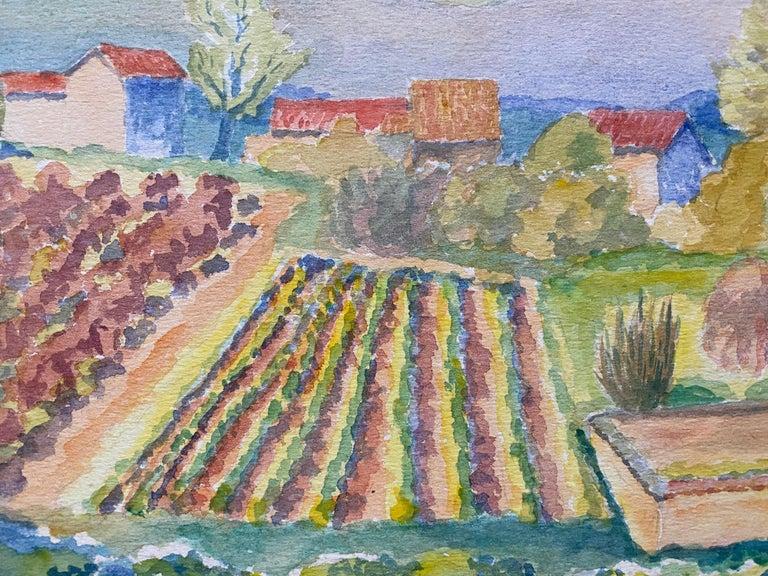 1940's Provence France Painting Vineyard Landscape - Post Impressionist artist For Sale 2