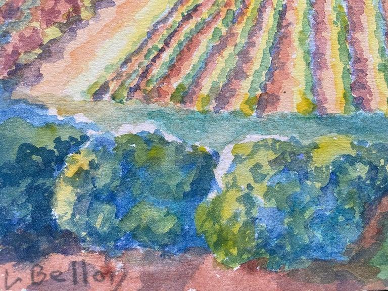1940's Provence France Painting Vineyard Landscape - Post Impressionist artist For Sale 3
