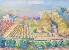 1940's Provence France Painting Vineyard Landscape - Post Impressionist artist
