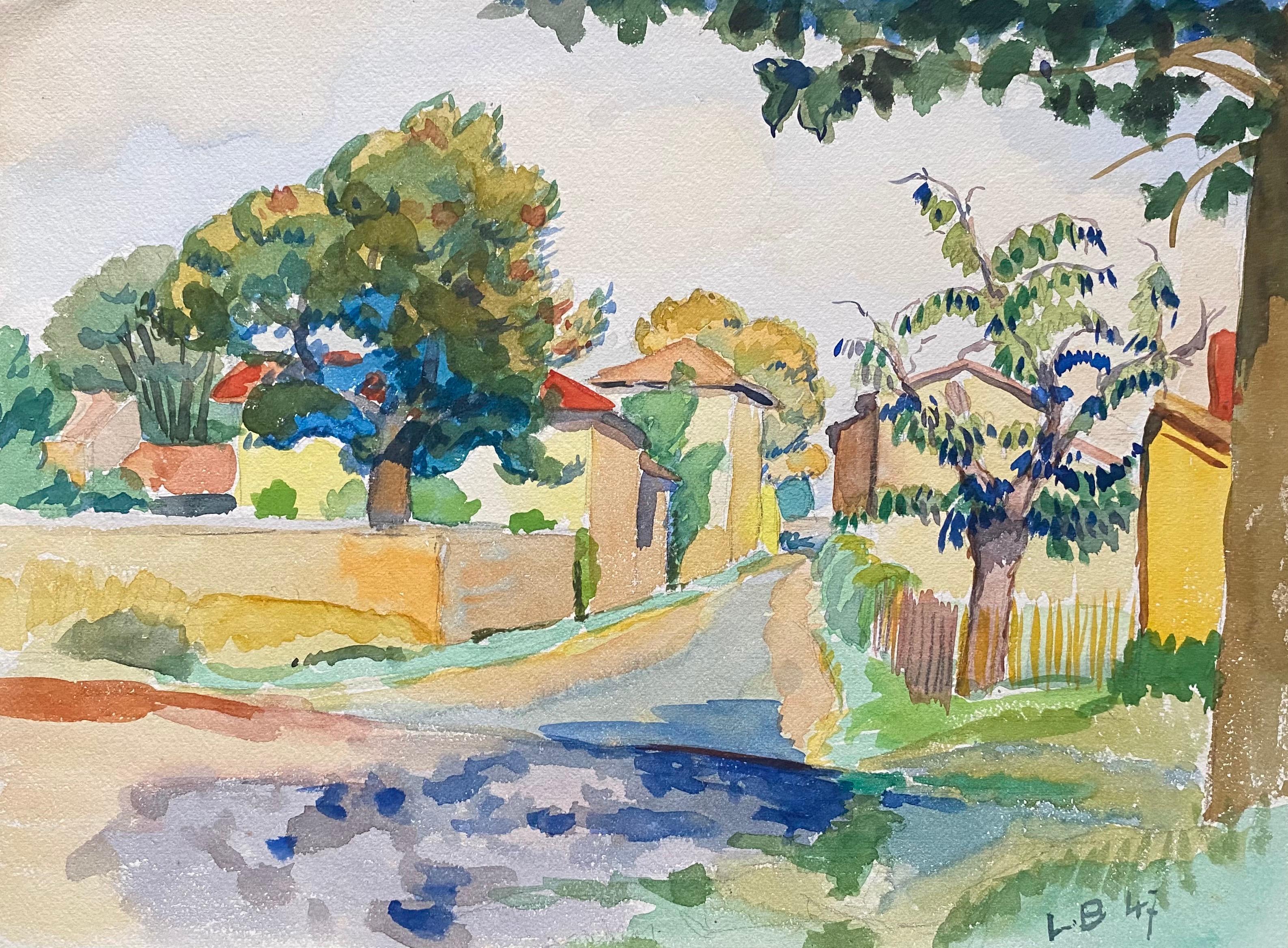 1940's Provence French Bright Summer Landscape  - Post Impressionist artist