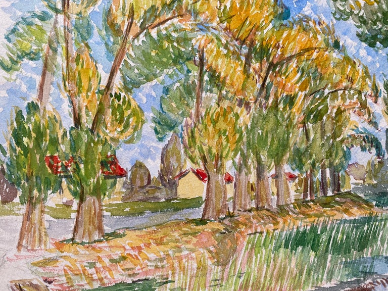 1940's Provence French Delicate Landscape - Post Impressionist artist - Post-Impressionist Painting by Louis Bellon