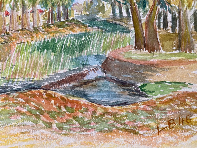 Provencal Landscape by Louis Bellon (French 1908-1998) Signed and dated 46' From a batch of similar work where most were dated 1942-1947 watercolour painting on paper, unframed  measurements: 9.75 x 12.5 inches  provenance: private collection of the