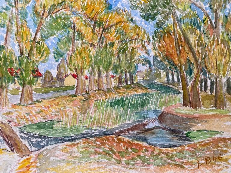 Louis Bellon Landscape Painting - 1940's Provence French Delicate Landscape - Post Impressionist artist