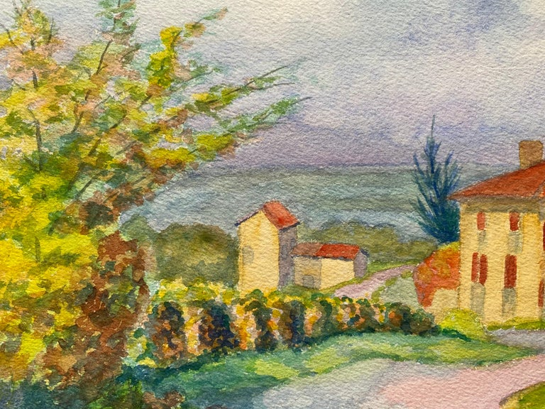 1940's Provence French House Painting  Landscape - Post Impressionist artist - Brown Landscape Painting by Louis Bellon