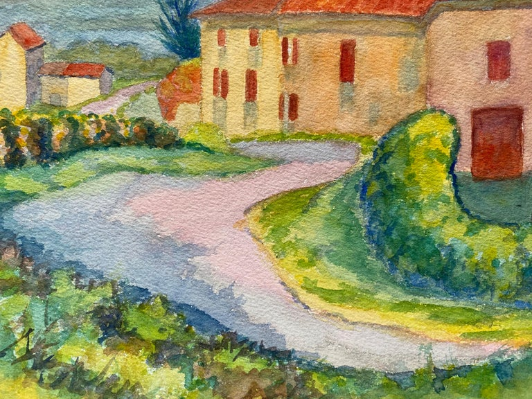 1940's Provence French House Painting  Landscape - Post Impressionist artist For Sale 1