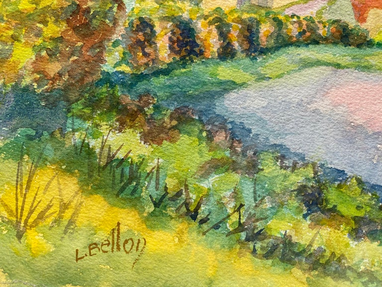 1940's Provence French House Painting  Landscape - Post Impressionist artist For Sale 2
