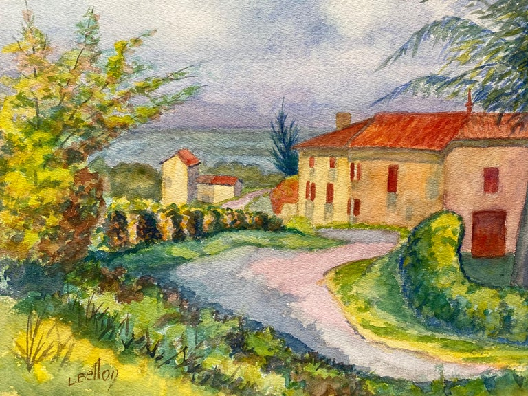 Louis Bellon Landscape Painting - 1940's Provence French House Painting  Landscape - Post Impressionist artist
