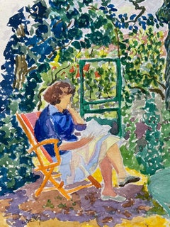 1940's Provence French Lady in Floral Garden Reading - Post Impressionist artist