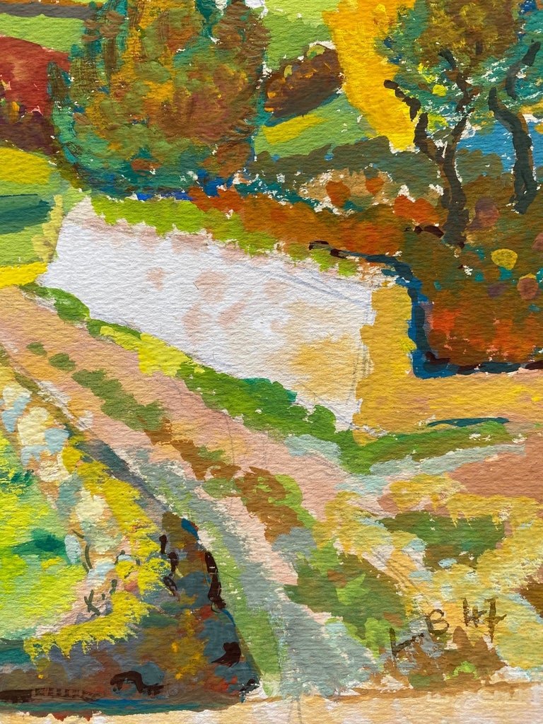 1940's Provence French Autumn Landscape - Post Impressionist artist - Painting by Louis Bellon