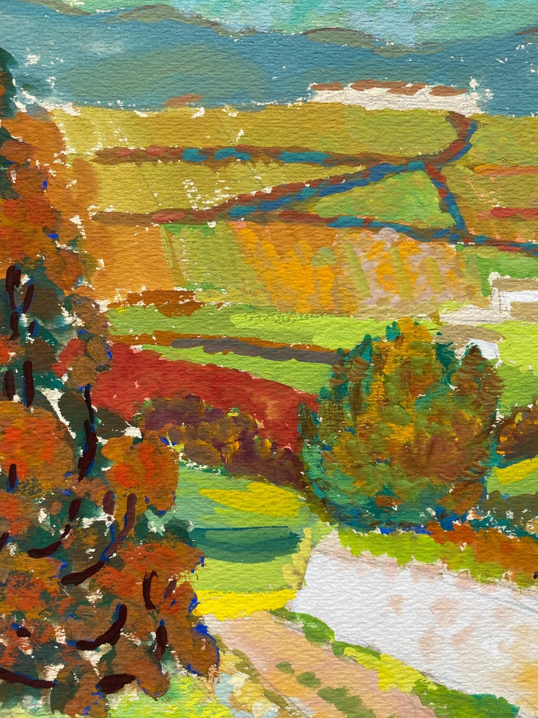 1940's Provence French Autumn Landscape - Post Impressionist artist - Post-Impressionist Painting by Louis Bellon