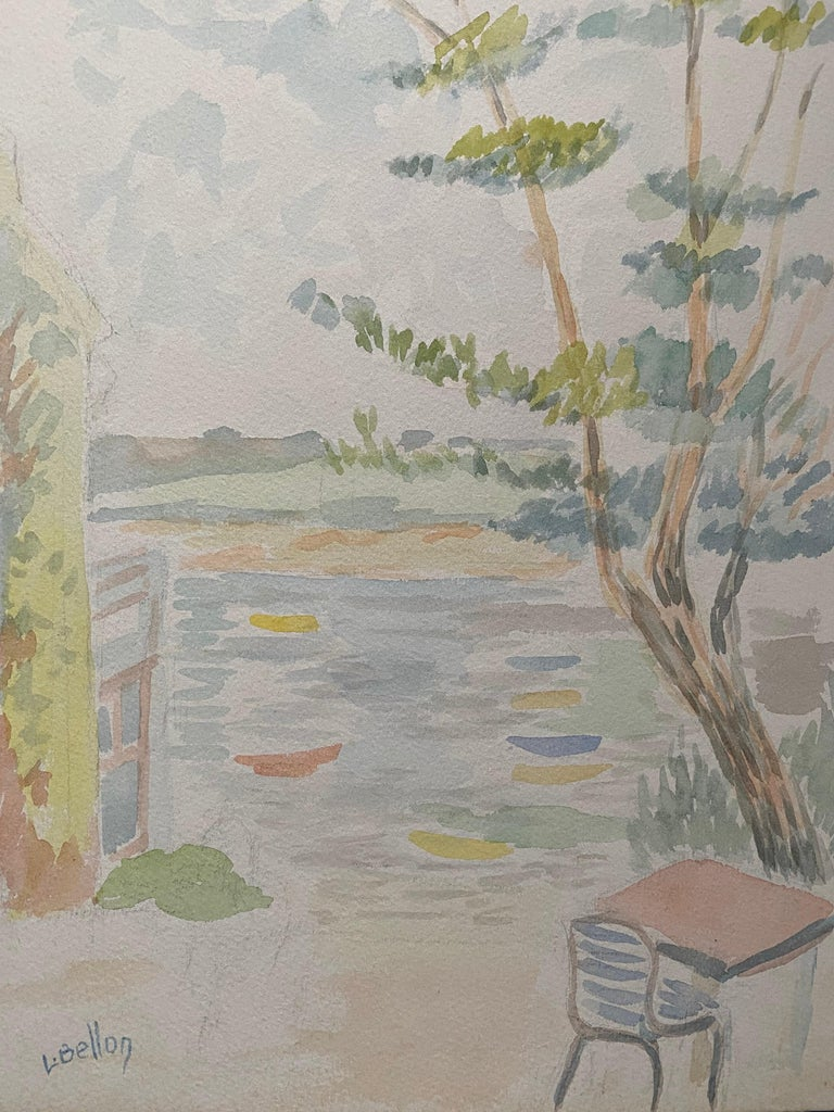 1940's Provence French Light Summer Landscape  - Post Impressionist artist - Painting by Louis Bellon