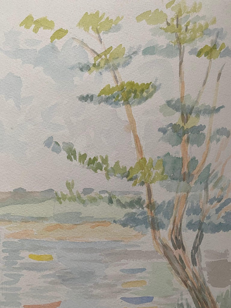 1940's Provence French Light Summer Landscape  - Post Impressionist artist - Gray Landscape Painting by Louis Bellon