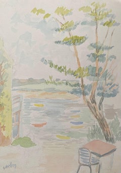 1940's Provence French Light Summer Landscape  - Post Impressionist artist