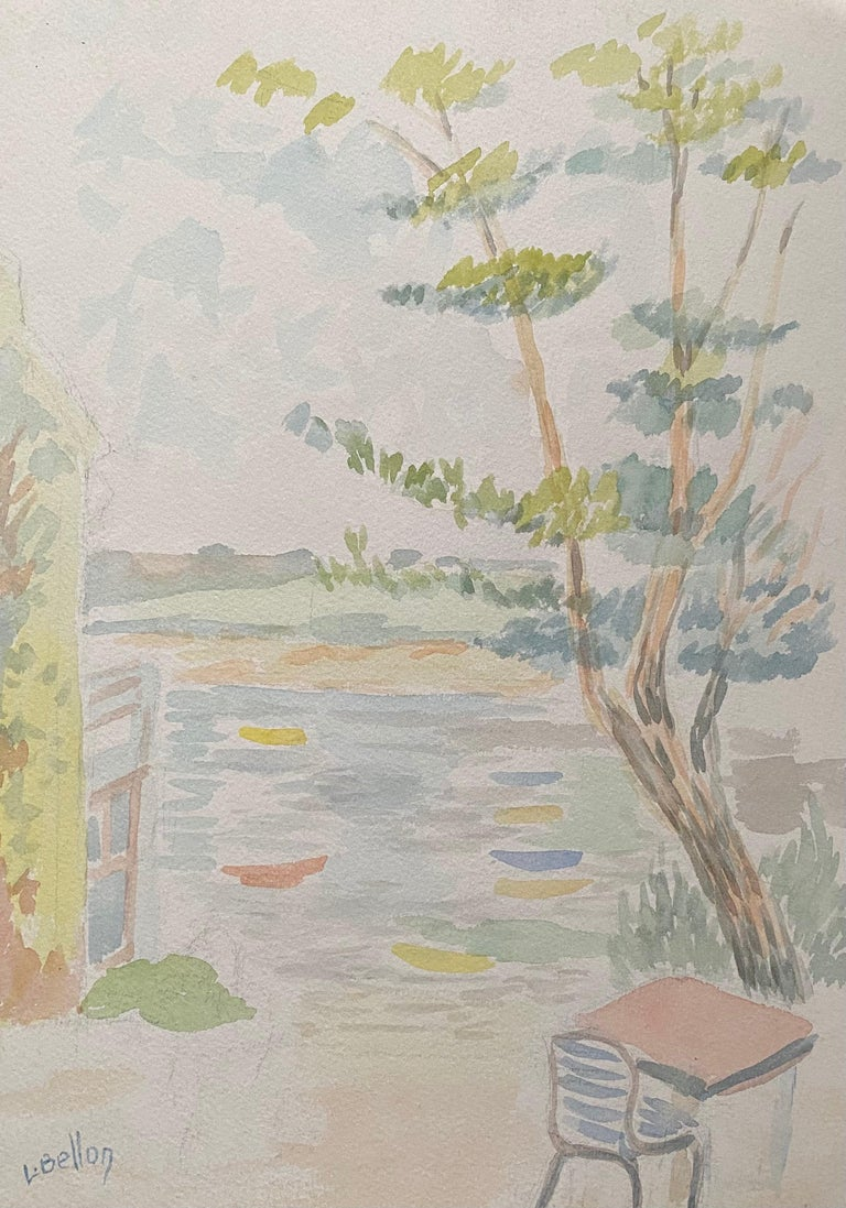 Louis Bellon Landscape Painting - 1940's Provence French Light Summer Landscape  - Post Impressionist artist
